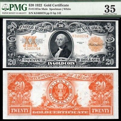1922 $20 Gold Certificate PMG VF35 Looks XF!