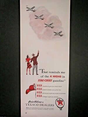 Vintage 1941 Texaco Fire Chief Gasoline  Ad ...4 Highs Army Fighters.