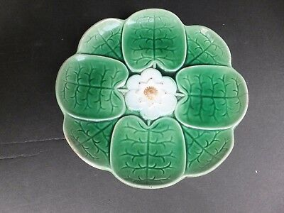 Antique Majolica Water Lily Flower Plate circa 1800's,  Nice !