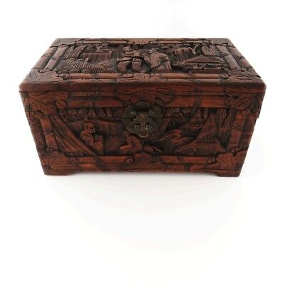 Yu Ting Good Luck Chest Antique Teak Hand Carved Sailor's Lock Box Hong Kong