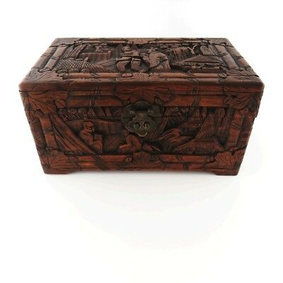 Yu Ting Good Luck Chest Antique Wood Hand Carved Sailing Lock Box Hong Kong