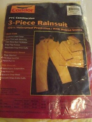 Condor 3 Piece Rainsuit With Detachable Hood Jacket And Pants PVC Size 2XL