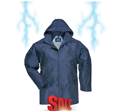 Mens Hooded Rain Jacket Large Classic Waterproof Raincoat Poncho Hooded 4XL NEW