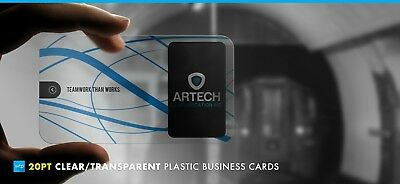 1000 Full Color Custom 20pt CLEAR PLASTIC BUSINESS CARD Printing w Round Corners