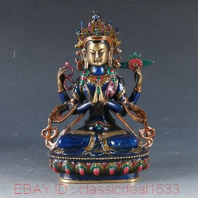 Chinese Cloisonne Handwork Carved Four arms Guanyin Statue ZJ105