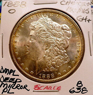 1888-O Morgan Silver Dollar Choice+ Bu/Ms Dmpl-Scarce, Beter Date Nice+ B638
