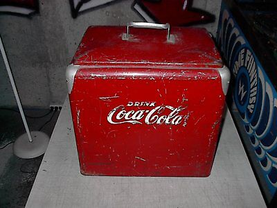 COCA COLA RED METAL COKE COOLER 1950's made by Progress Refrigerator Company
