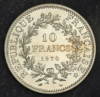 1970, France (3rd Republic). Beautiful Large Silver 10 Francs Coin. 25gm!