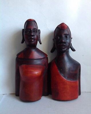 "A Pair Vintage Rich &Heavy Wooden African Statue Hand Carved Painted 8 3/8"" Tall"