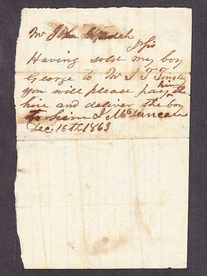 Slave Bill of Sale George $300 Sold by James Duncan to Virginia Jan 1 1863 (4)