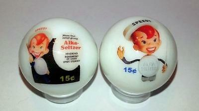 """Set of 2 Charming Alka Seltzer 1"""" Glass Marble With Stands"""