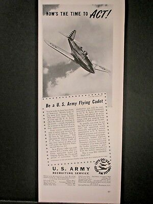Vintage 1941 WWII US Army Recruiting Service ...Now Is The Time To Act.