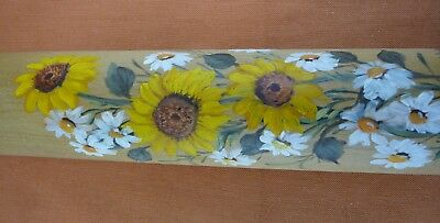 Vintage Sunflower Rolling Pin - Hand Painted Daisies and Sunflowers - RARE
