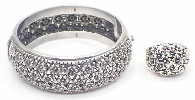 Beautiful Vintage Hinged Bangle & Ring Set with Floral Pattern - Sterling Silver