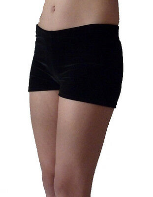 BLACK VELVET GYMNASTICS DANCE GYM BIKE SHORTS - GIRLS SIZES 2 to 16 & ADULTS