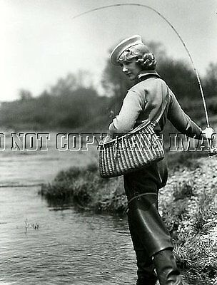 Antique Reproduction 8 X 10 Photo Print >  Woman Fly Fishing Creel Rod Reel # 5