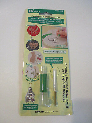 Clover Embroidery Stitching Tool Needle threader instructions Backstitch Loop