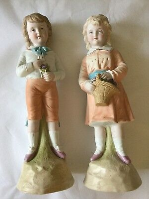 Antique Victorian Pair Of Pastel Bisque Girl & Boy Figure's Figurines Germany