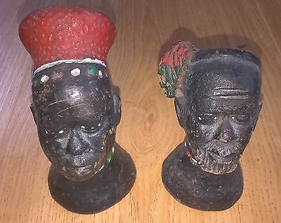 """Two painted terracotta African heads, origin unknown, about 12.5 CM (<5"""") high"""