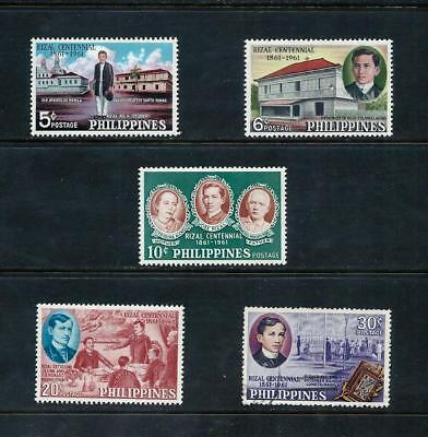 PHILIPPINES _ 1961 'JOSE RIZAL' SET of 5 _ mh_used ___(519)