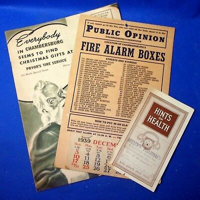 Vintage Chambersburg PA Advertising: Pryors Tire: Millers Drugs; Fire Alarm Sign
