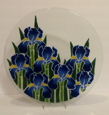 """Peggy Karr Blue Iris Large 15.5"""" Round Serving Platter Handcrafted Fused Glass"""