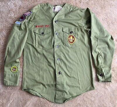 vintage 1970's BOY SCOUTS OF AMERICA green button shirt YOUTH Buffalo Patrol BSA