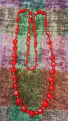 Vintage Ruby Red Faceted Glass Bead Necklace, 35 inches long 71.3 grams, Sparkes