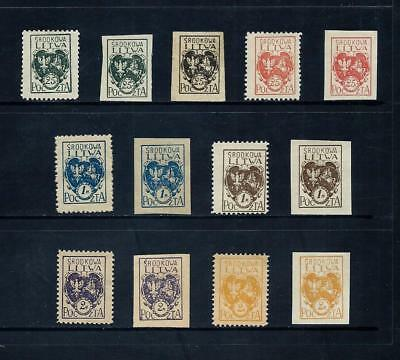 CENTRAL LITHUANIA _ 1920 'ARMS' PERF & IMPERF SETS (13) _ mh ____(519)