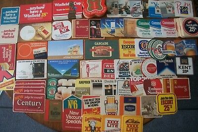 62 Different Vintage Beer Coasters Cigarette Advertising VB XXXX + Lots Doubles
