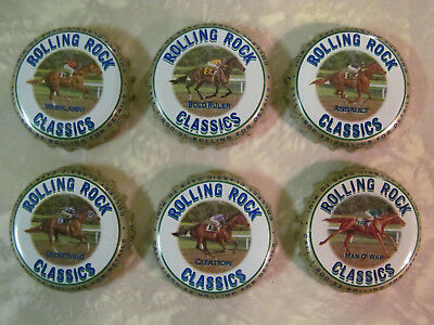 6 Latrobe Bc Rolling Rock Classics Race Horse Beer Bottle Crown Caps Full Set