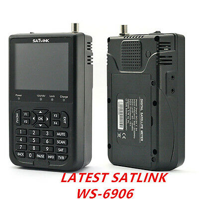 New SATLINK WS-6906 DVB-S FTA Digital Satellite Signal Finder Meter 3.5'' QPSK