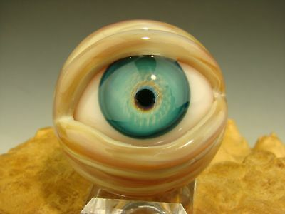 Glass Art Eyeball Marble Lampwork Human Eye Freaky Orb VGW Kenny Talamas