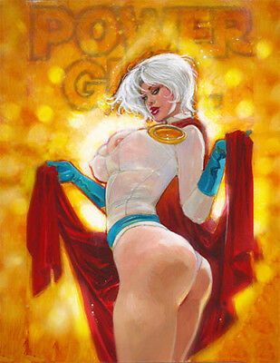 Mark Beachum POWER GIRL Sexy Pinup #1 DCU Hand Embelished Signed LE Giclee