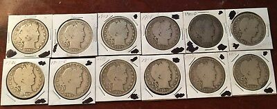 Coin Collection Lot of 12 Barber Half Dollars