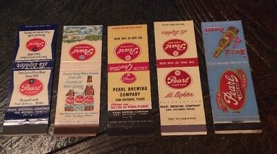 Vintage Pearl Beer (San Antonio, Texas) Matchbook Covers