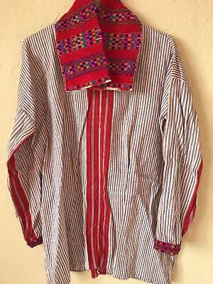 VINTAGE-Guatemalan Shirt- Off White background with multi colored stripes