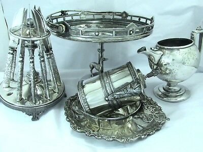 Antique Silverplate Tableware Mixed Lot Syrup Jug Knives Holder Tray Basket