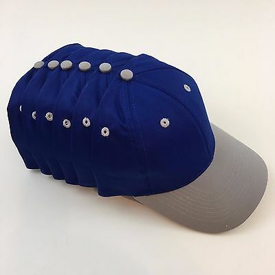 6 Cotton Twill Low Profile Caps Hats Blanks Royal Blue & Gray Otto 19-062
