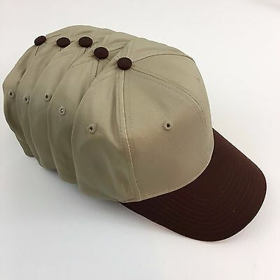 5 Cotton Blend Twill Pro Baseball Caps Hat Blanks Khaki & Brown Otto 27-080