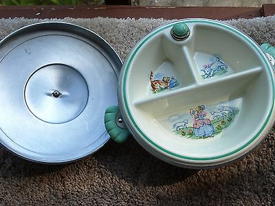 Vintage Child / Baby Divided Food Warmer w/ Lid Dish Chrome & Enamel Excellent