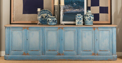 Vintage French Sky Blue Sideboard Cabinet Old Solid Pine Wood,119''L X 36''Tall.