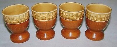 Set Of 4 Retro Ceramic & Wooden Egg Cups ~ Japan ~ As New
