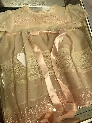 Antique 1900's Vintage BABY~DOLL Christening Dress~Net Lace~Embroidery~Near MINT