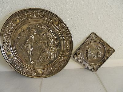 Two Vintage Brass Wall Art Plates Repousse Victorian Romance Made In England