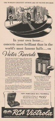 1939 RCA Victrola Portable Model O-10 Automatic Record Changing U-123 Print Ad