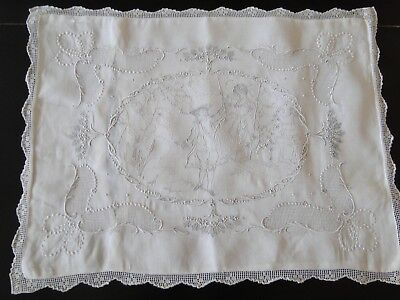 CIRCA 1900's, LOVELY FINE APPENZELL  EMBROIDERED PILLOW COVER W/COURTING COUPLE