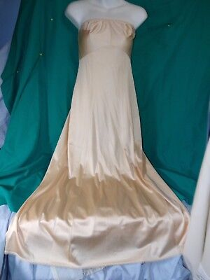 JCP Nylon Formal Strapless Long Slip tan size 32/10 prom, wedding,gown