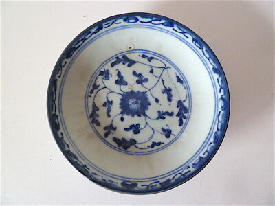 Assiette coupe Ancienne PORCELAINE DE CHINE blanc bleu Chinese chinoise china As