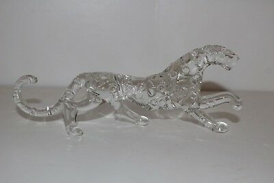 Vintage Clear Glass/crystal Prowling Leopard/panther Figurine